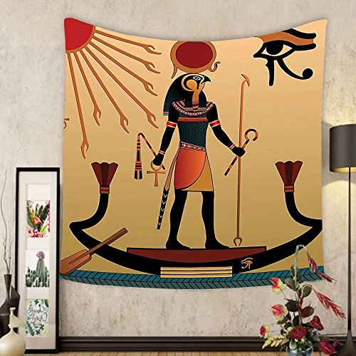 Gzhihine Custom tapestry Egyptian Decor Tapestry Illustration of Ancient God Sun Ra Old Egyptian Faith Grace Icons Traditional Pagan Print Bedroom Living Room Dorm Decor Multi by Gzhihine
