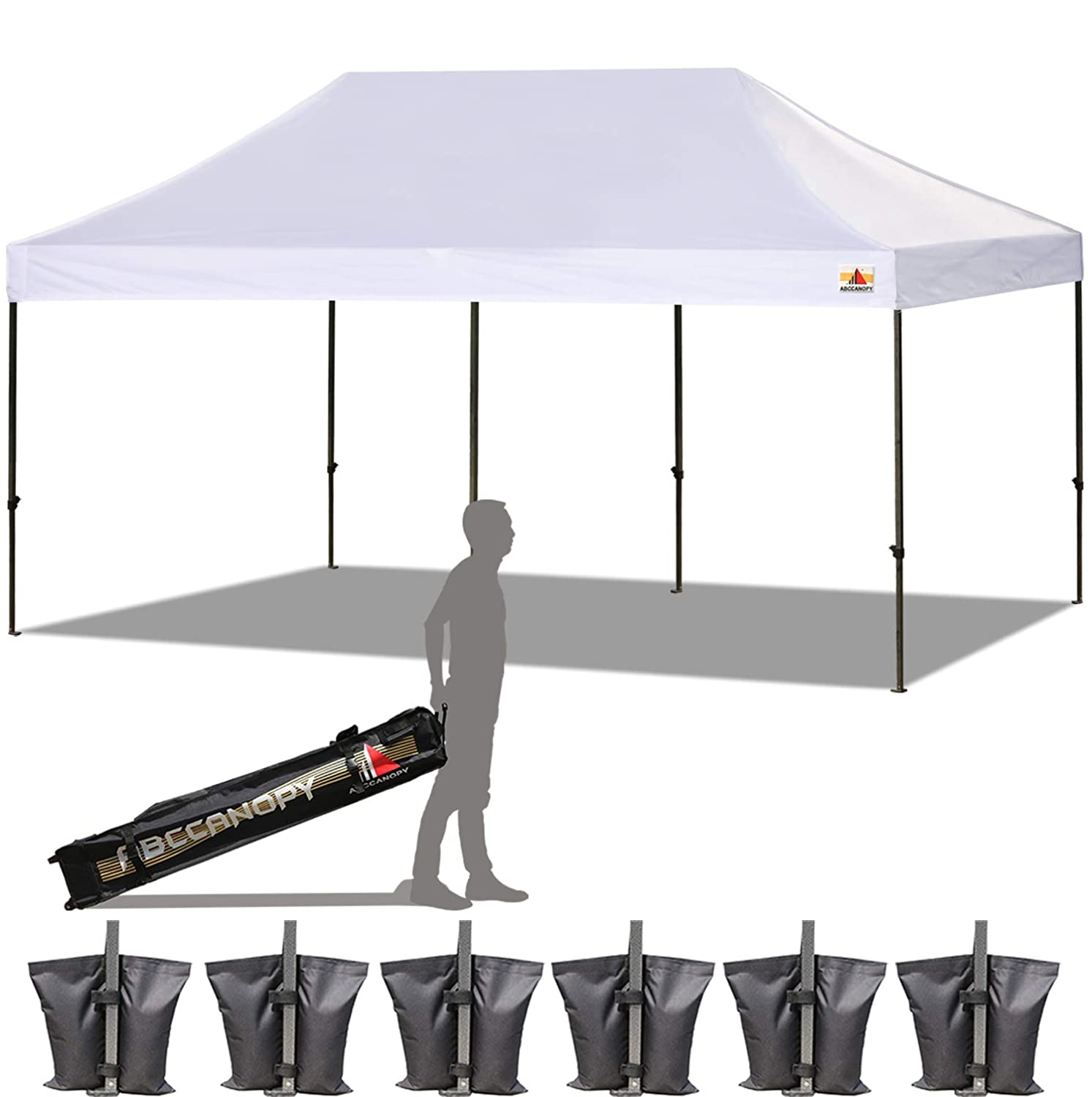 ABCCANOPY 23 Colors 10×20 Pop up Tent Instant Canopy Commercial Outdoor Canopy with Wheeled Carry Bag Bonus 6 Weight Bags White