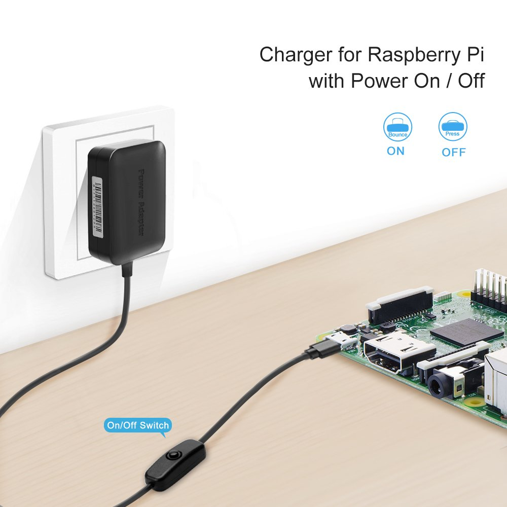 Bensn 3a High Speed Output 5v Raspberry Pi 3 Power Switch Bounce Produced On Press Supply Adapter Charger Micro Usb With Off 15m 5 Feet Computers