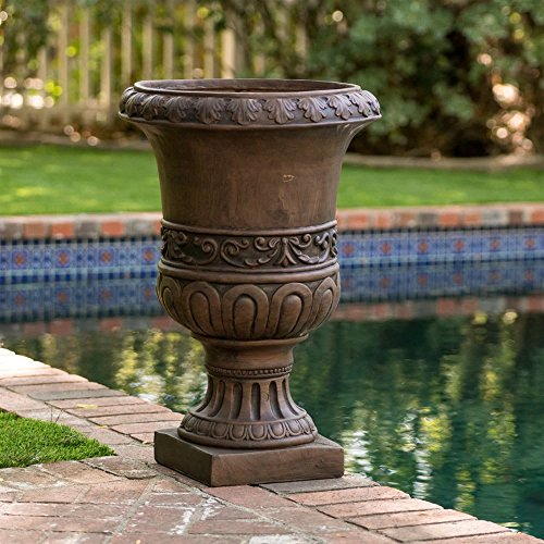MD Group Urn Planter Garden Pot 26-in Round Quartz Stone Antique Brown Outdoor Decor by MD Group