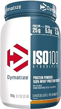 Dymatize ISO 100 Chocolate Peanut 900g - Hidrolizado de Proteína de Suero Whey + Aislado en Polvo