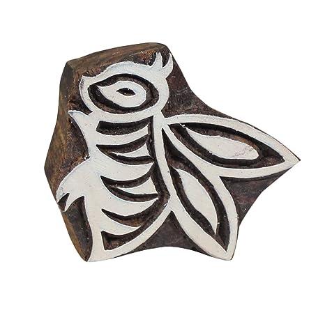 Bloque de impresión de madera con diseño de abeja de miel, arcilla ...