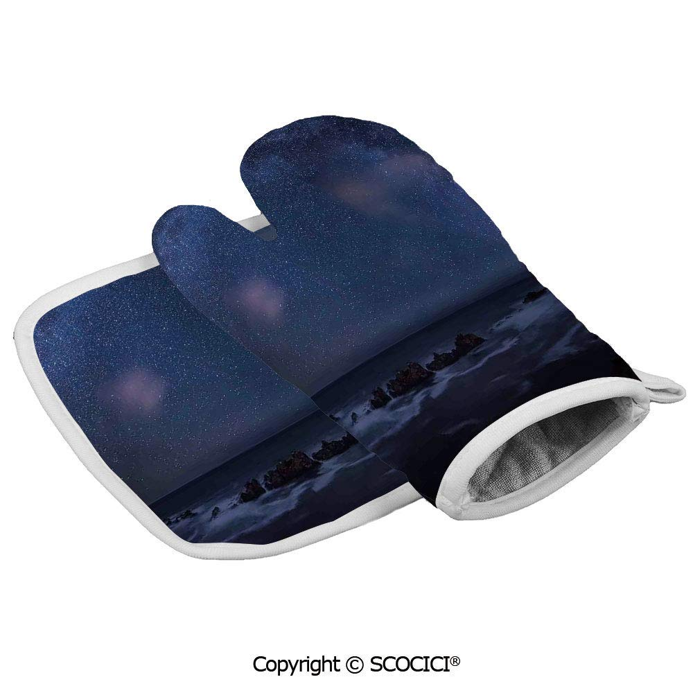 Massive Milky Way Over The Sea Appears to Be a Dark Matter Halo Spread Out in Oven Gloves Insulated Gloves Anti-scalding Durable Cooking Baking Utensils