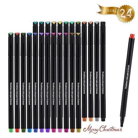 Fineliner Farbe Stifte Set, DazSpirit 24 Farben Journalstifte Zeichnung Stift 0,4mm Feine Kugel Farbstift für Bullet Journal