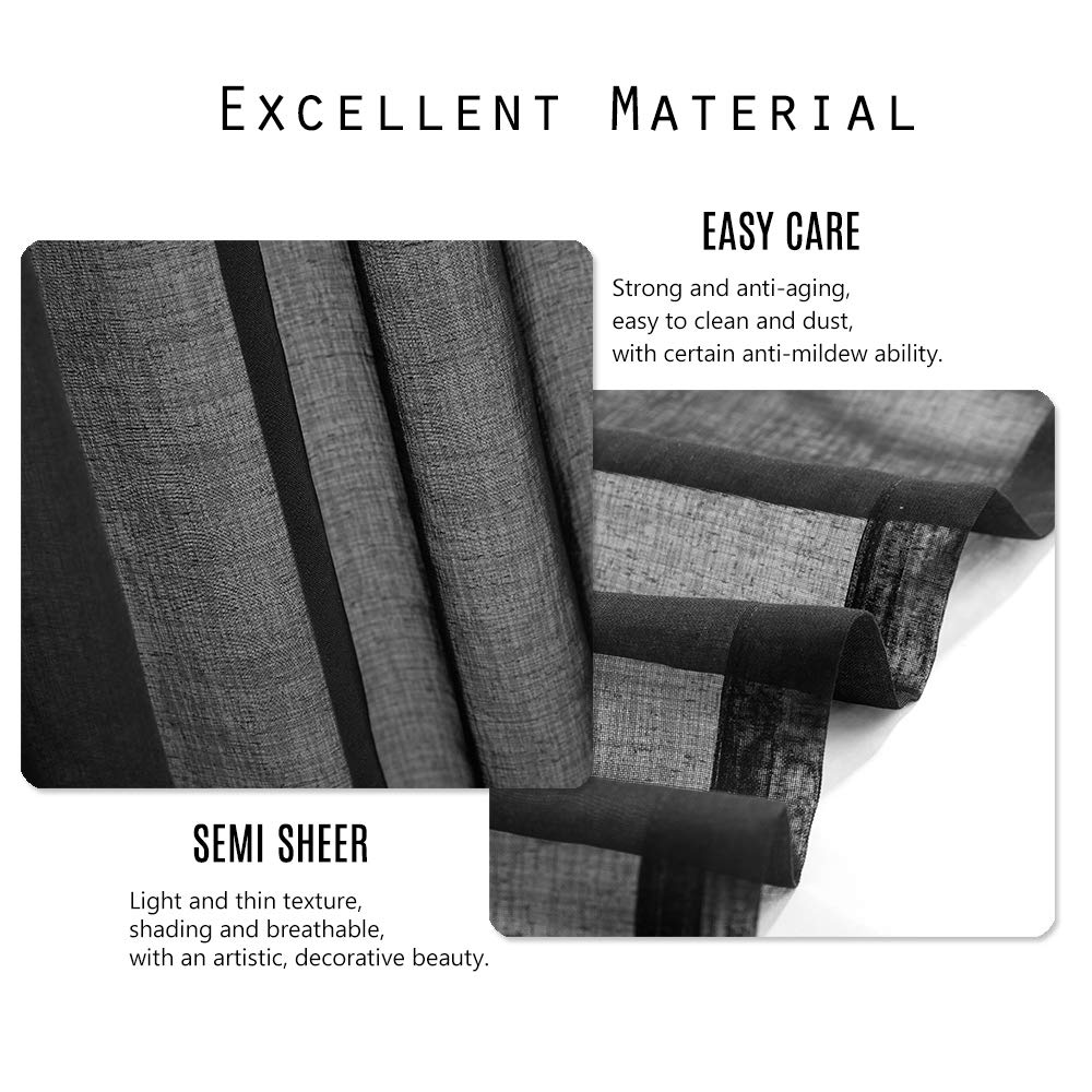 Dreaming Casa 2 Panels Black Sheer Curtains Voile Window Curtain Rod Pocket Panels for Bedroom and Living Room 52 W X 96 L