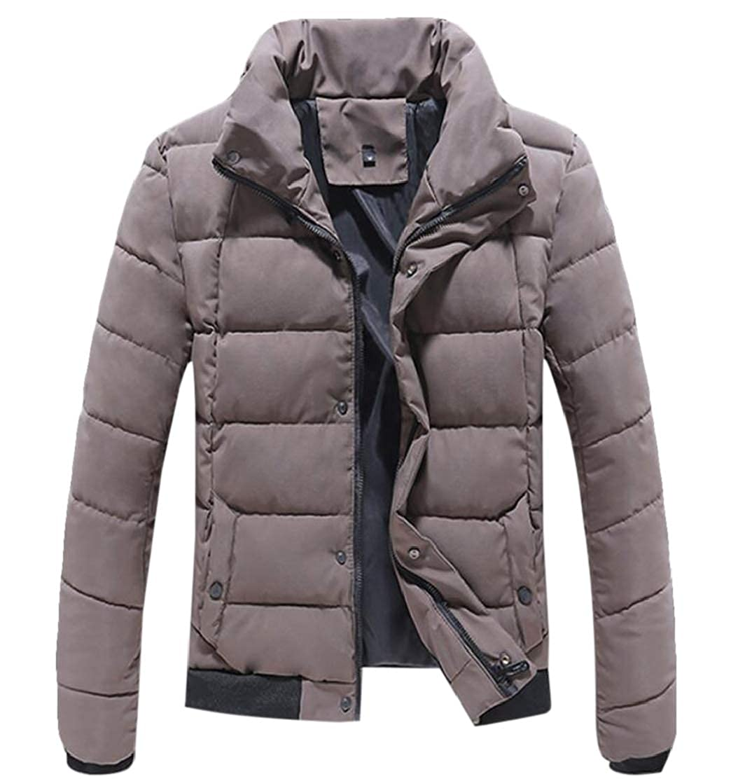 Domple Mens Padded Outdoor Winter Quilted Stand Collar Down Jacket Coat