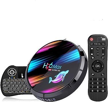 Android 9.0 TV Box ,【4G+128G】 H96 MAX X3 con Mini Teclado inalámbirco S905X3 Quad-Core 64bit Cortex-A53 Android TV Box ,Wi-Fi-Dual 2.4GHz/5GHz, ...