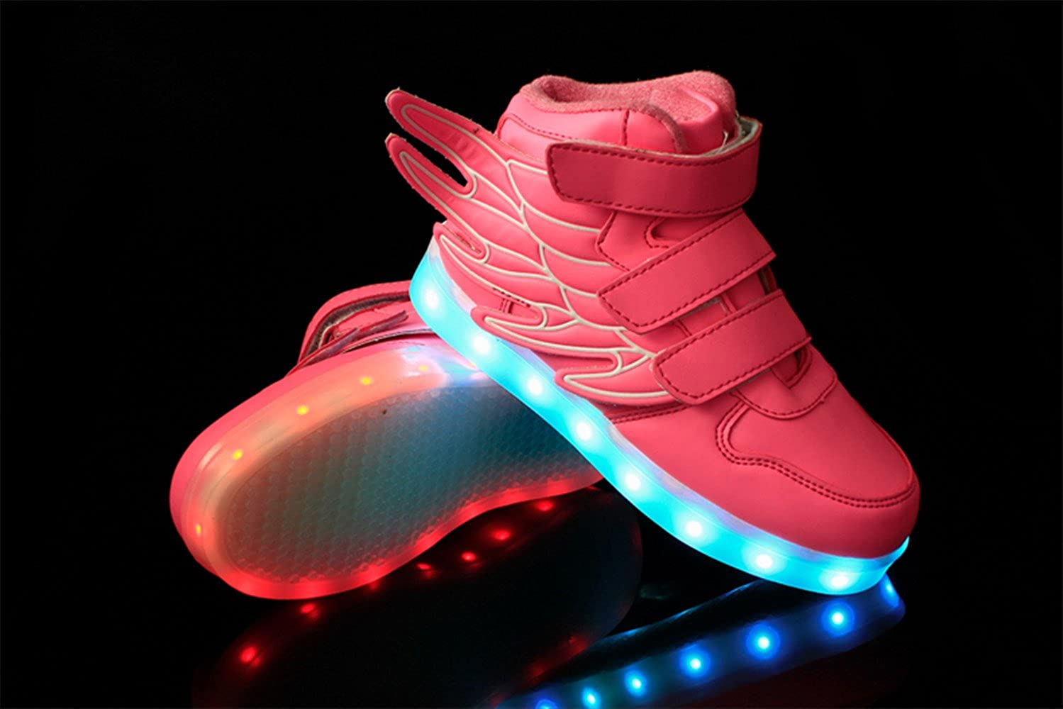 HarlanLi Unisex Boys Girls Kids 7 LED Light Up Luminous Shoes USB Charge Have Wings Casual Sneakers Pink