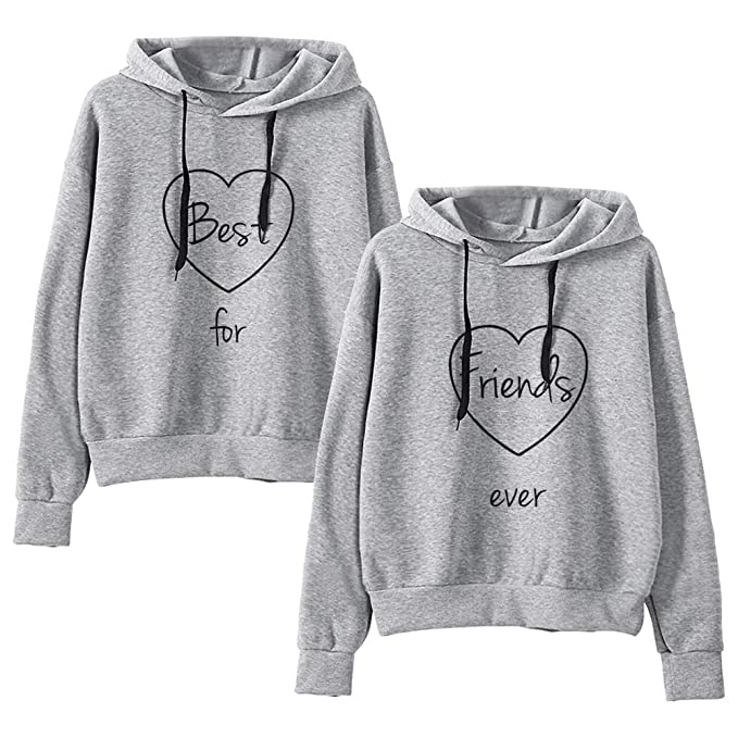 e459c4a4 Best Friends Hoodies Matching for 2 Sweatshirt BFF Pullover Sweater Girl 2  Pcs at Amazon Women's Clothing store: