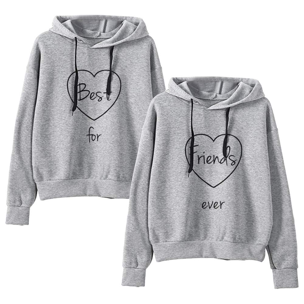 Best Friends Hoodies Matching for 2 Sweatshirt BFF Pullover Sweater Girl 2 Pcs at Amazon Womens Clothing store: