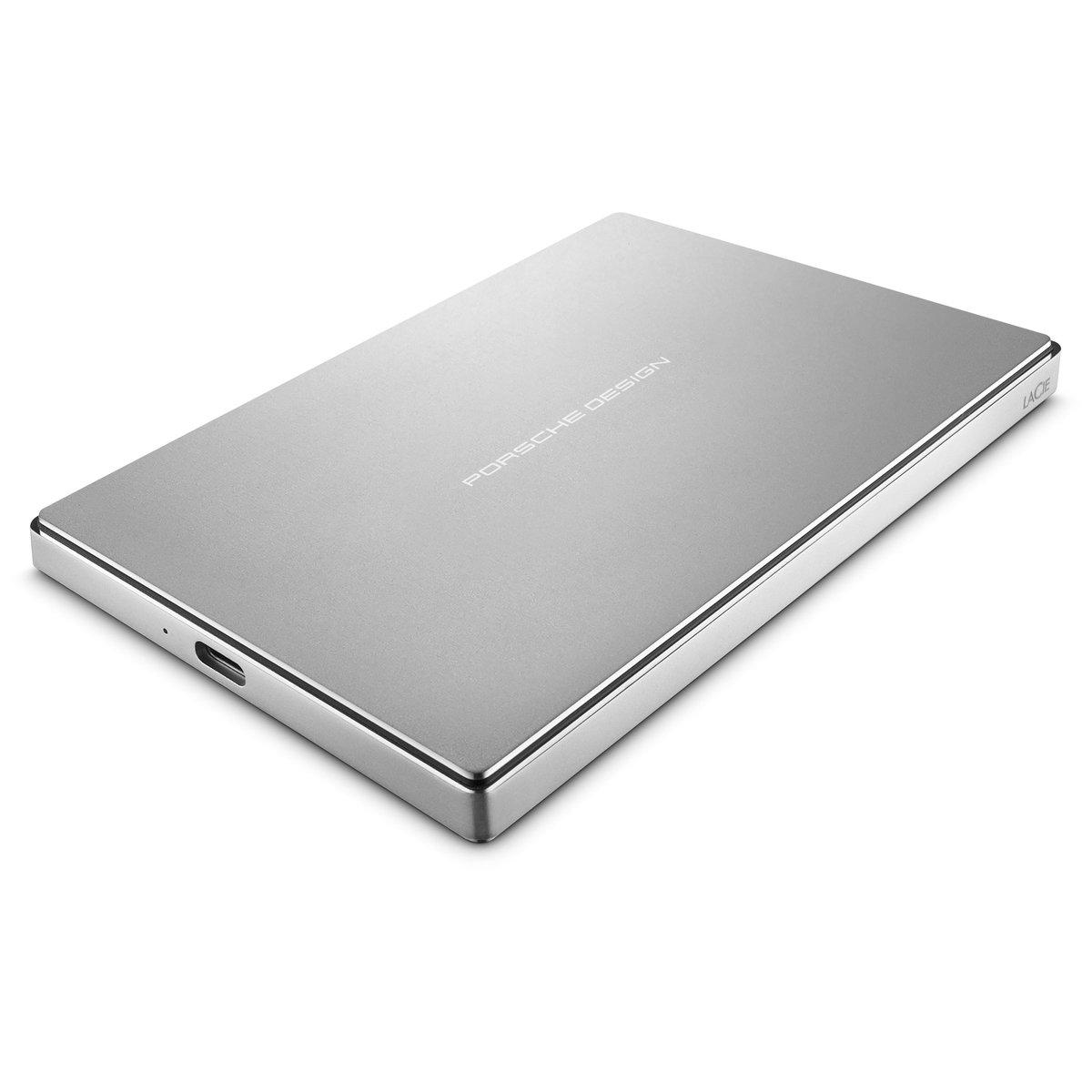LaCie Porsche Design 2TB USB-C Mobile Hard Drive, Silver + 2mo Adobe CC Photography (STFD2000400)