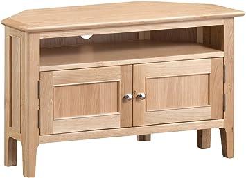 Norton - Mueble esquinero para televisor (Madera de Roble, 2 cajones, 90 cm), Color marrón: Amazon.es: Electrónica
