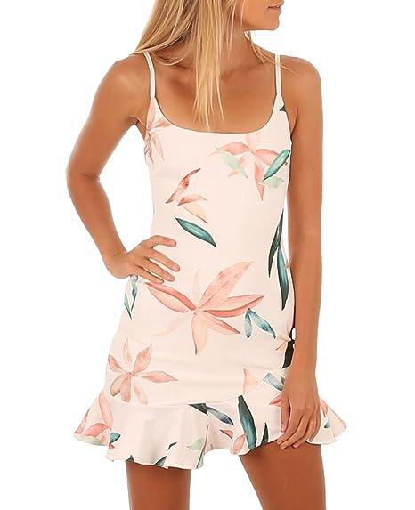 Sentao Mujeres Vestido Corto Elegante Sin tirantes Floral Verano Vestido de Playa Vestido de Fiesta (Como la imagen, Asia M): Amazon.es: Ropa y accesorios