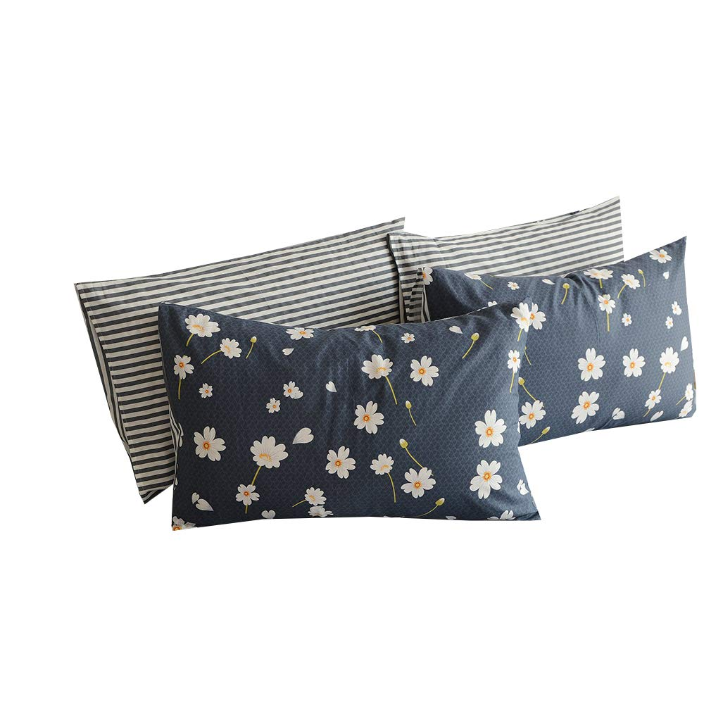 BuLuTu Cotton Daisy Print Bed Pillowcases Set of 2 Queen Navy Floral Kids Pillow Covers Decorative Standard for Kids Adults Envelope Closure End -Premium,Hypoallergenic,Breathable (2 Pieces,20''×26'')