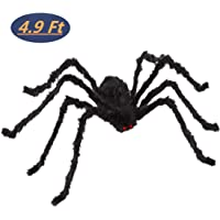 Spoice 4.9 Ft Giant Soft Hairy Spider for Halloween Indoor/Outdoor Decoration (Black)