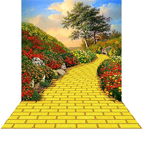Wicked Costumes Emerald City (Wizard of Oz Backdrop with Floor - Yellow Brick Road - 10x20 Ft. Seamless Fabric)