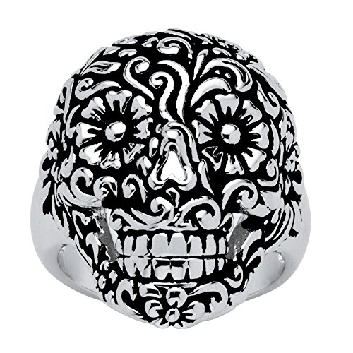 Spooky Scroll - Seta Jewelry Etched Platinum-Plated Floral and Scroll Motif Smiling Skull Ring