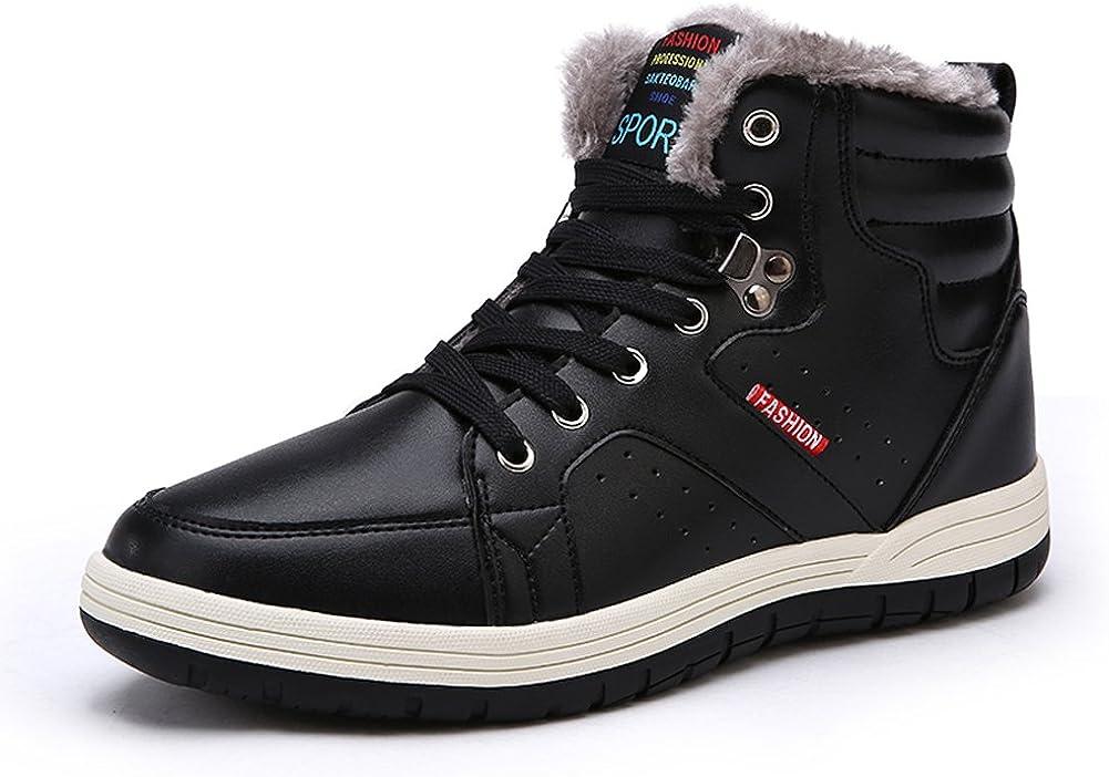 Laiwodun Hombres Zapatillas Nieve botas de piel de cuero cálido forrado no deslizamiento Casual Botas al aire libre Alto Rise Skateboarding zapatos