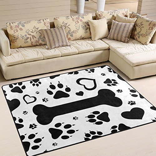 (ALAZA Black Footprints of Dog Paw Print Bone Area Rug Rugs for Living Room Bedroom 7' x 5')
