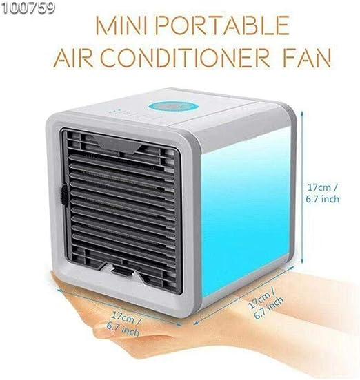 Enfriador de aire, purificador humidificador de aire acondicionado pequeño 3 en 1, 3 velocidades de ventilador 7 colores Luces LED USB Espacio personal Aire acondicionado Enfriador portátil Deskto: Amazon.es: Hogar