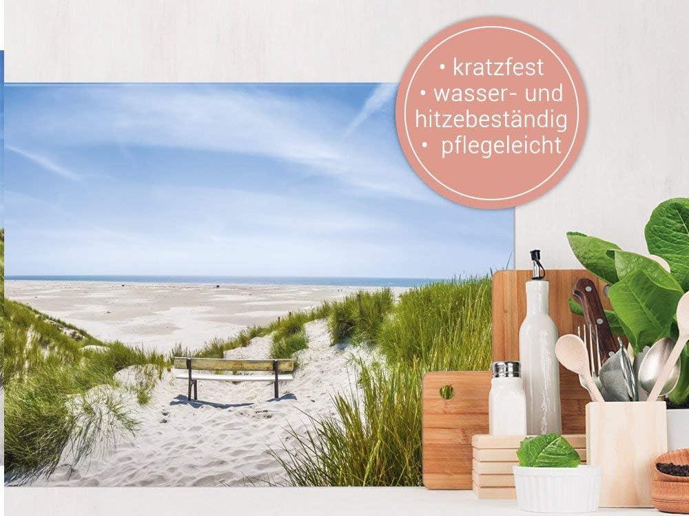 Landschaft Strand Nordsee 80x40cm K/üchenr/ückwand aus Echtglas GRAZDesign Spritzschutz K/üche Herd