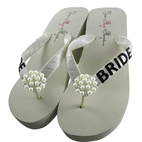d40ec1e61 Amazon.com  Pearl Bride Glitter Embellished Wedge Flip Flops