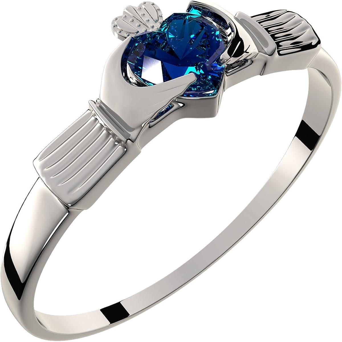 GWG Jewellery Anillos Mujer Regalo Anillo Fino de Claddagh Plata de Ley Dos Manos Que Rodean Corazón de Circonita de Color Zafiro Azul con Corona para Mujeres