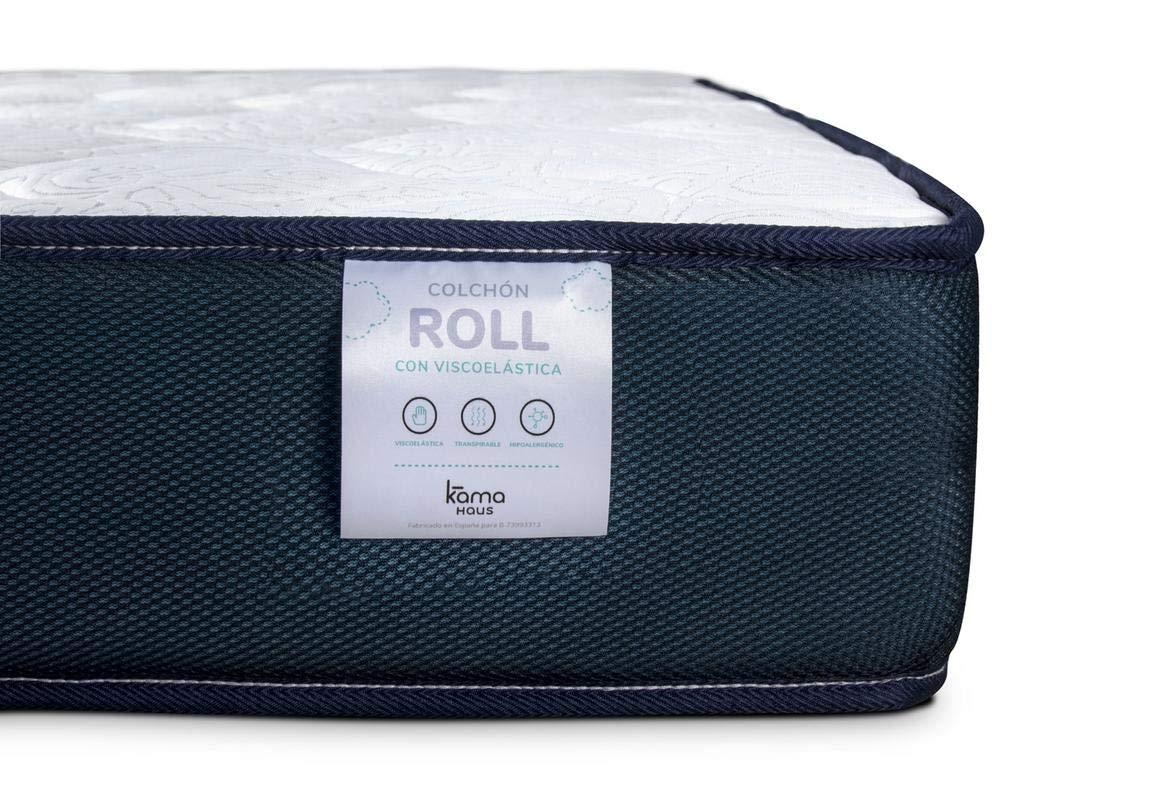 KAMA HAUS Colchón Viscoelástico Roll 70x180 cm. | con Viscoelástica Adaptable | Tejido Transpirable | Antiácaros | Colchón Juvenil | Reversible | Altura ...