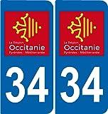 2 Stickers autocollant plaque immatriculation Auto 34 Occitanie - LogoType