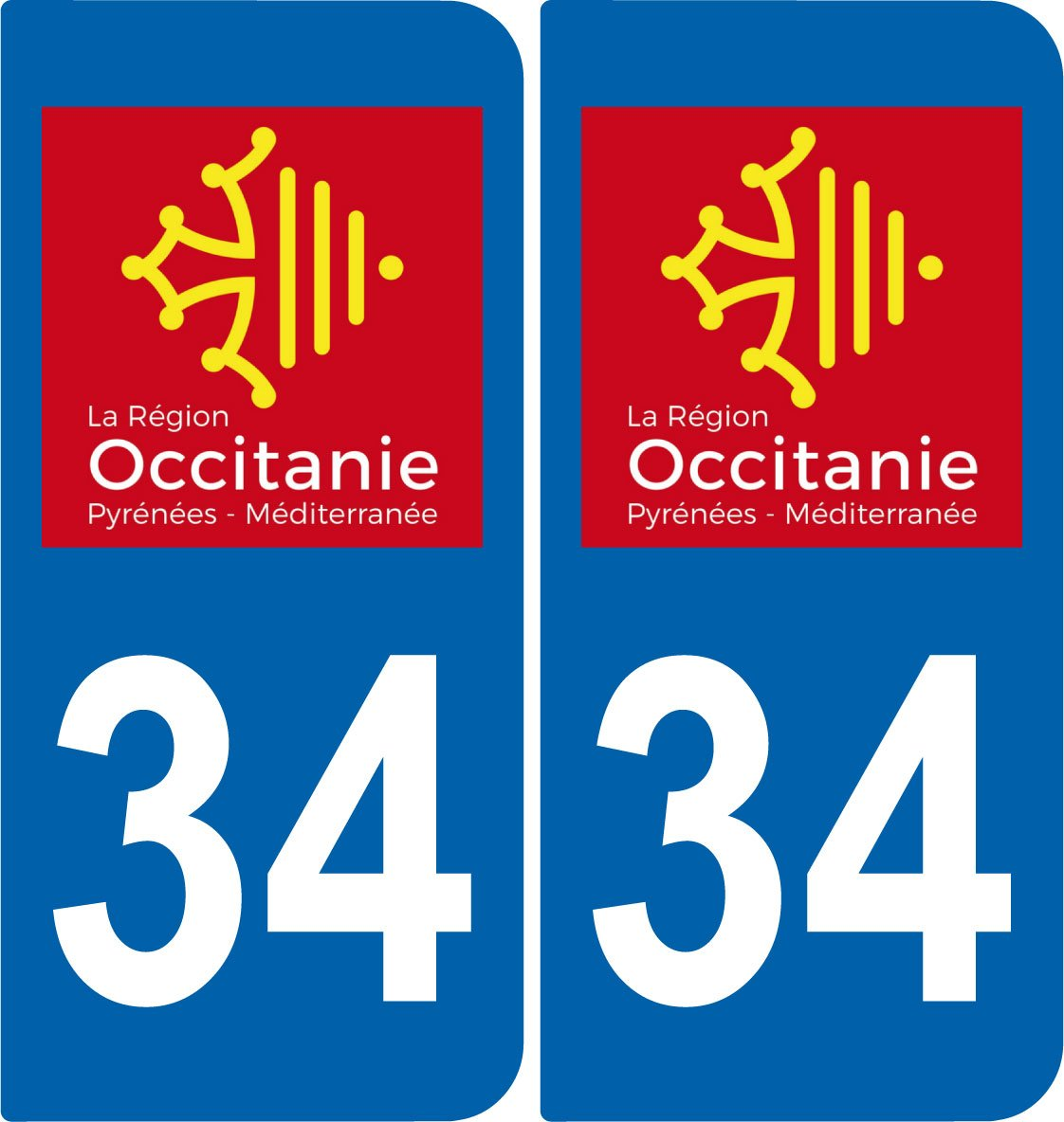 delicate 2 Stickers autocollant plaque immatriculation Auto 34 Occitanie - LogoType