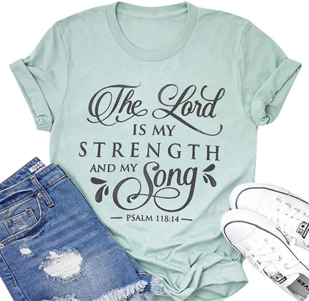 UNIQUEONE The Lord is My Strength and My Song T-Shirt Women Short Sleeve Letter Print Funny Casual Tee Blouse
