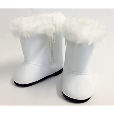 "18"" Doll Shoes fits American Girl Doll - White Boots with Fur Trim: Toys & Games"