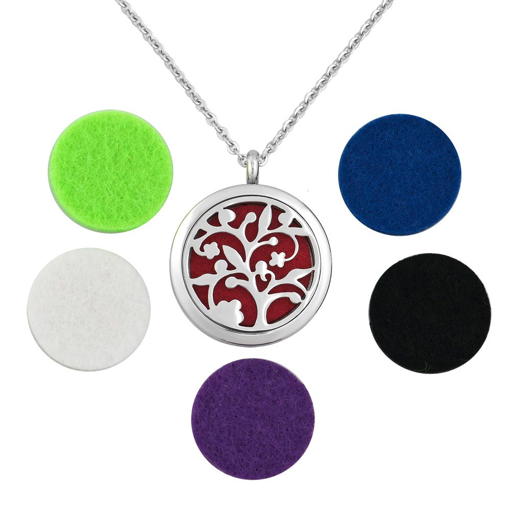 Charmed Craft Tree Of Life Essential Oil Diffuser Aromatherapy Necklace Stainless Steel Locket Pendant Necklace KSEB_A43_PDLT36