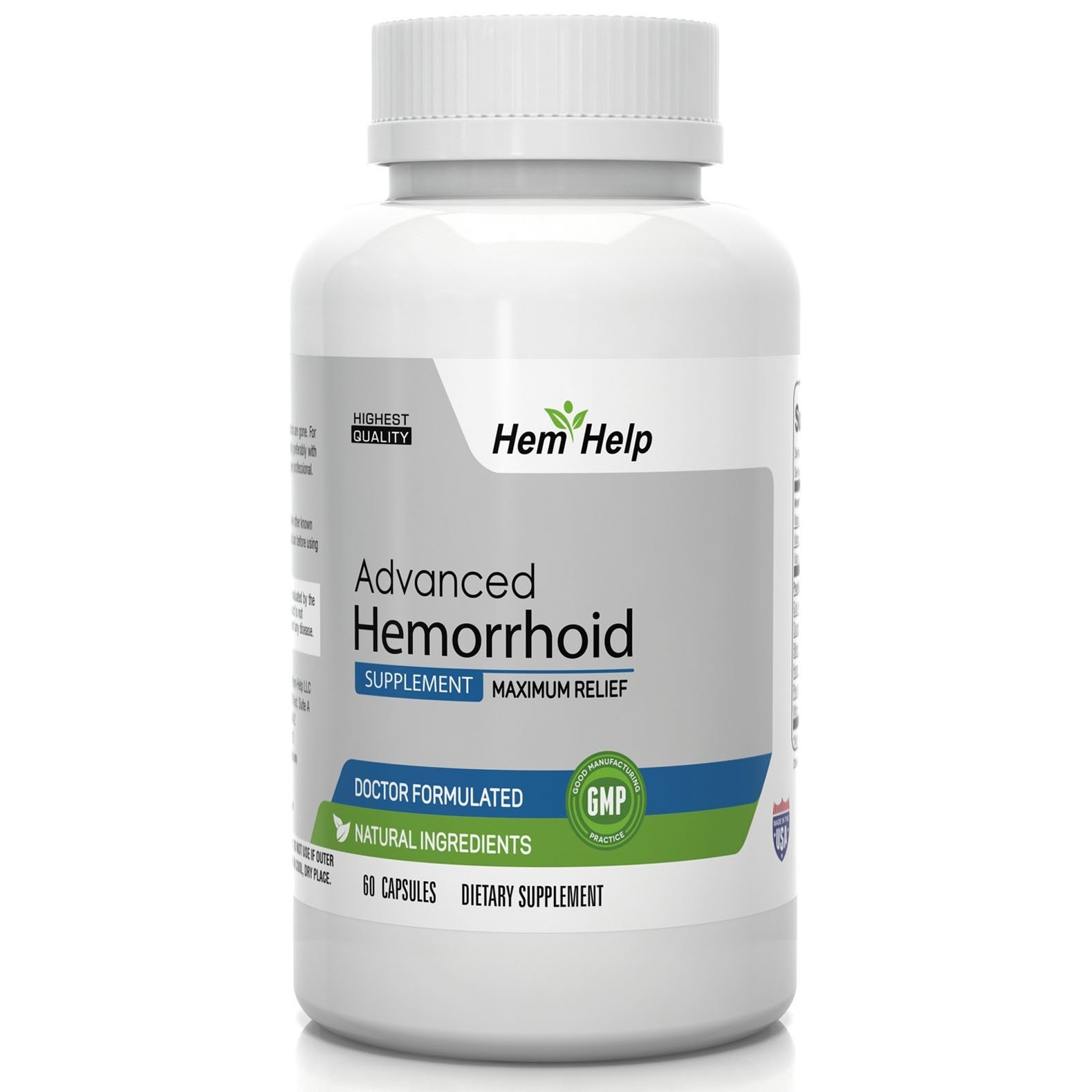 Hem-Help - Fast Action Hemorrhoid Relief Capsules w/ All Natural Formula for Quick Relief from Hemorrhoid Related Inflammation, Itching, Bleeding & Pain - 100% Money back Guarantee - 60 Capsules by Hem-Help