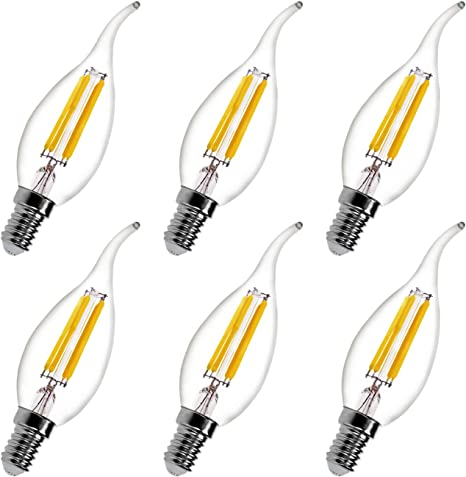 LED White Candle Bulb Dimmable A Energy Saving Chandelier Light Bulbs 4W