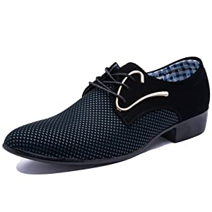 Blivener Men's Pointed Toe Suede Leather Dress Shoes Casual Oxford Blue US 12