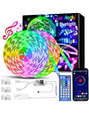 Bluetooth LED Strip Lights 65.6FT, Music Sync LED Light Strip Controlled by Smart Phone APP, LED Lights 20m 600LEDs RGB Power Strip with UL Listed Adapter IR Remote Controller