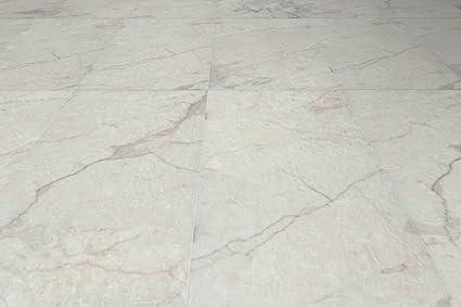 Carrara White Resilient Vinyl Tile Flooring 198 Sq