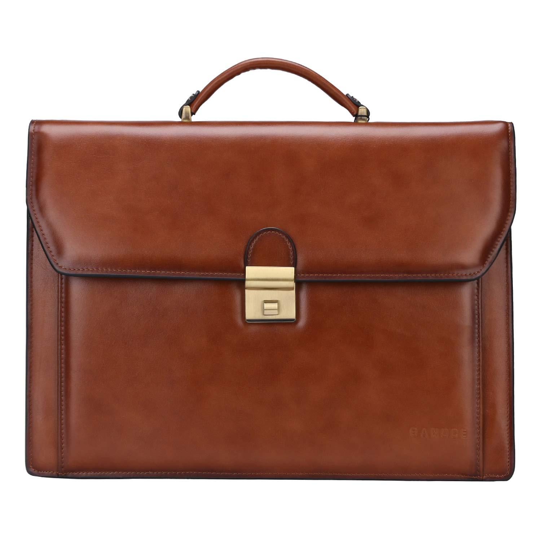 Banuce Men Genuine Leather Briefcase Lawyer Lock Business Tote Shoulder Messenger Attache Case 14 Laptop Bag