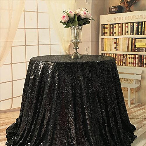 und Cake Sequin Black Sequin Tablecloth for Christmas Party-90-Inch ()
