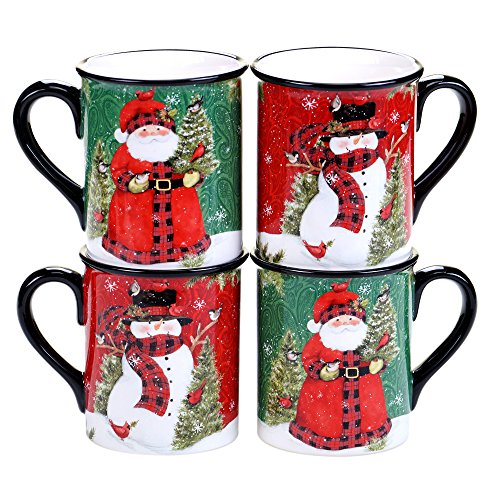 Certified International Winter's Plaid 16 oz. Mugs, Set of 4 , 2 Assorted Designs