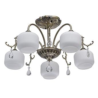 Mw Light 372013005 Lustre Plafonnier En Métal Couleur Bronze 5 Abat Jours En Verre Mat Blanc Pour Chambre Salon 5x60w E27