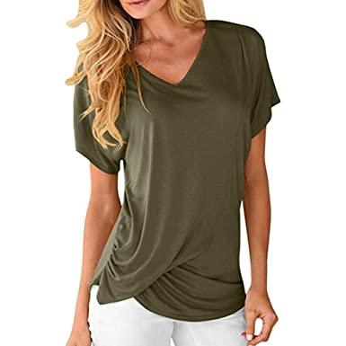 72d7126e850 Kimloog Women s V-Neck Short Sleeve Ruched Tops Front Twist Casual Tee  Shirts (S