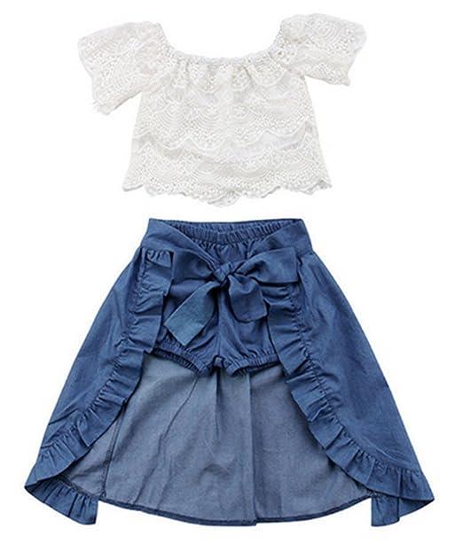 774337ca7de22 Amazon.com: 3Pcs Toddler Girls Lace Off Shoulder Tops+Shorts+Bow ...