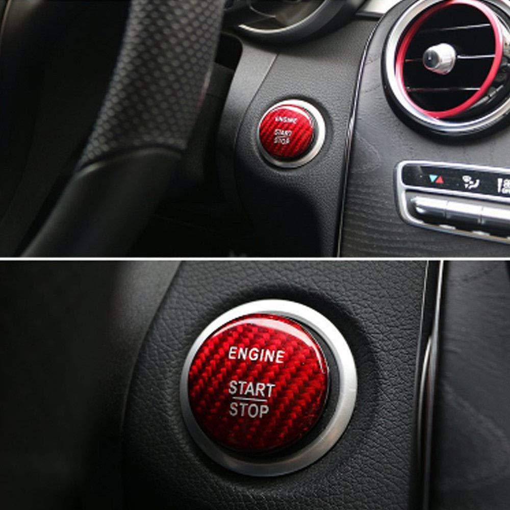 Red Engine Button Trim,Carbon Fiber Engine Start Button Cover Cap Stop Push Button Cover Trim For Mercedes Benz C GLC W205 Ignition Starter Switch Knob Decoration Stickers