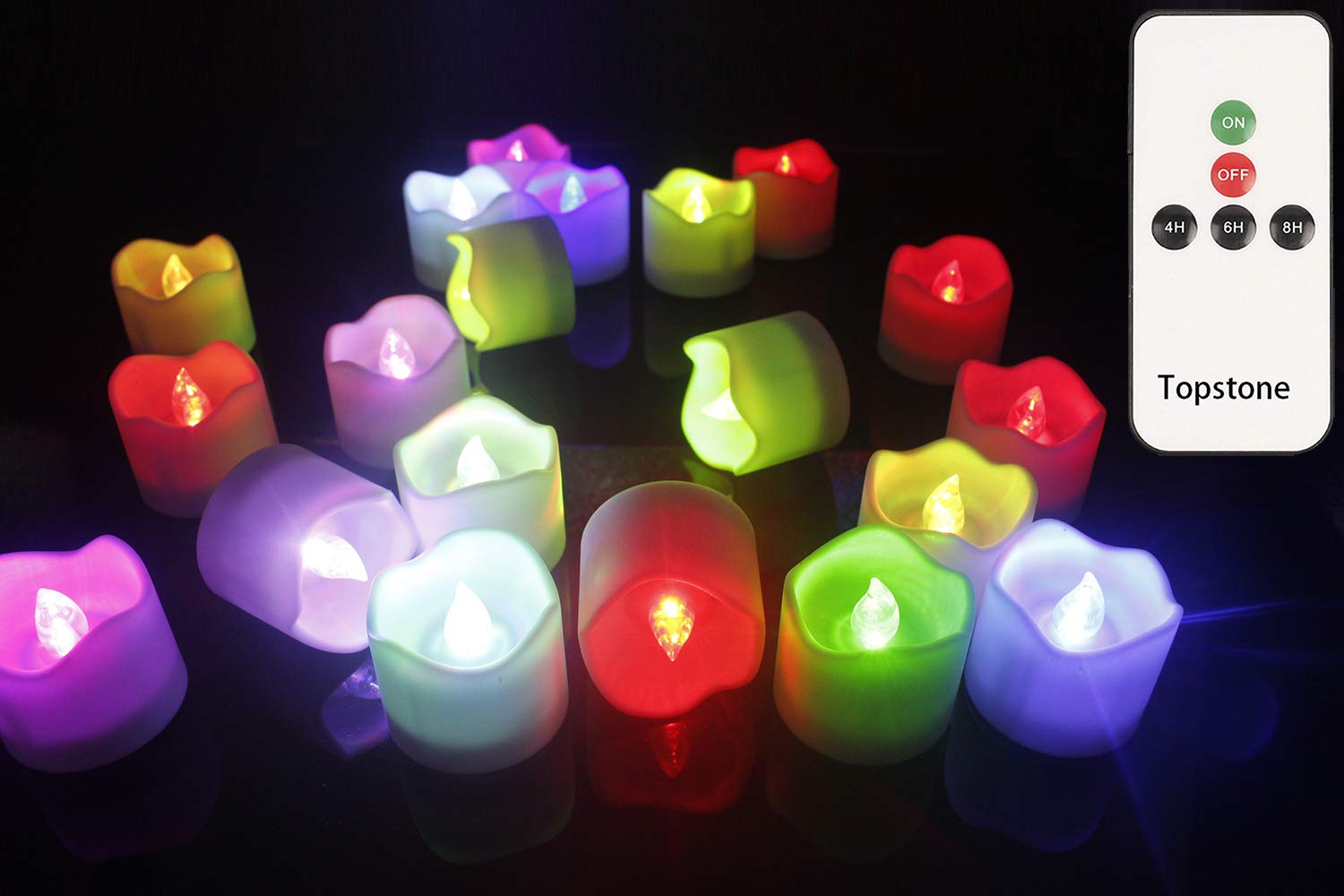Topstone Remote Control Tea Lights,Battery Powered Votive Candles with Timer,Color Changing