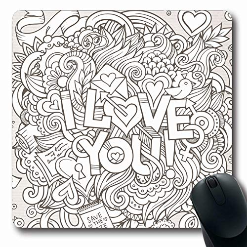 Ahawoso Mousepads for Computers Day Line Love Hand Lettering Doodles Message Holidays Amour Celebration Confession Contour Design Oblong Shape 7.9 x 9.5 Inches Non-Slip Oblong Gaming Mouse Pad