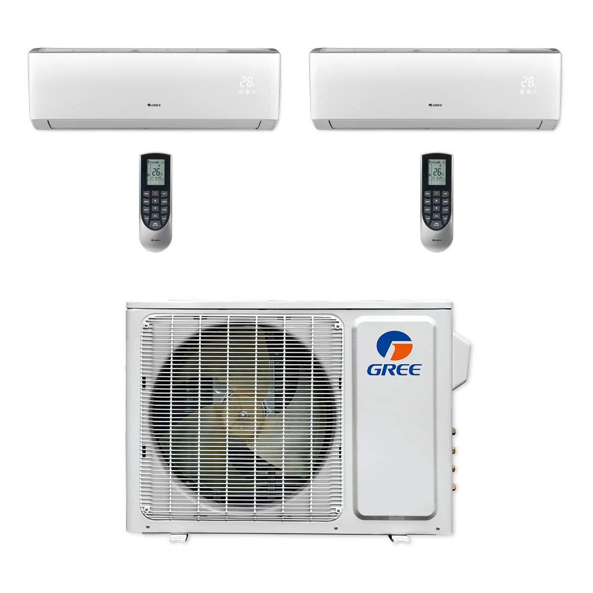 Gree MULTI18CVIR200-18, 000 BTU Multi21+ Dual-Zone Wall Mount Mini Split Air Conditioner Heat Pump 208-230V (9-9)