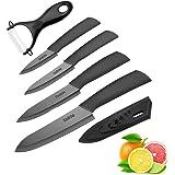 Cadrim Cuchillos Chef, Cuchillos de Cocina de Cerámica,Cuchillos de Cerámica para Cortar Carne de Verduras de Fruta 5pcs/Set Negro