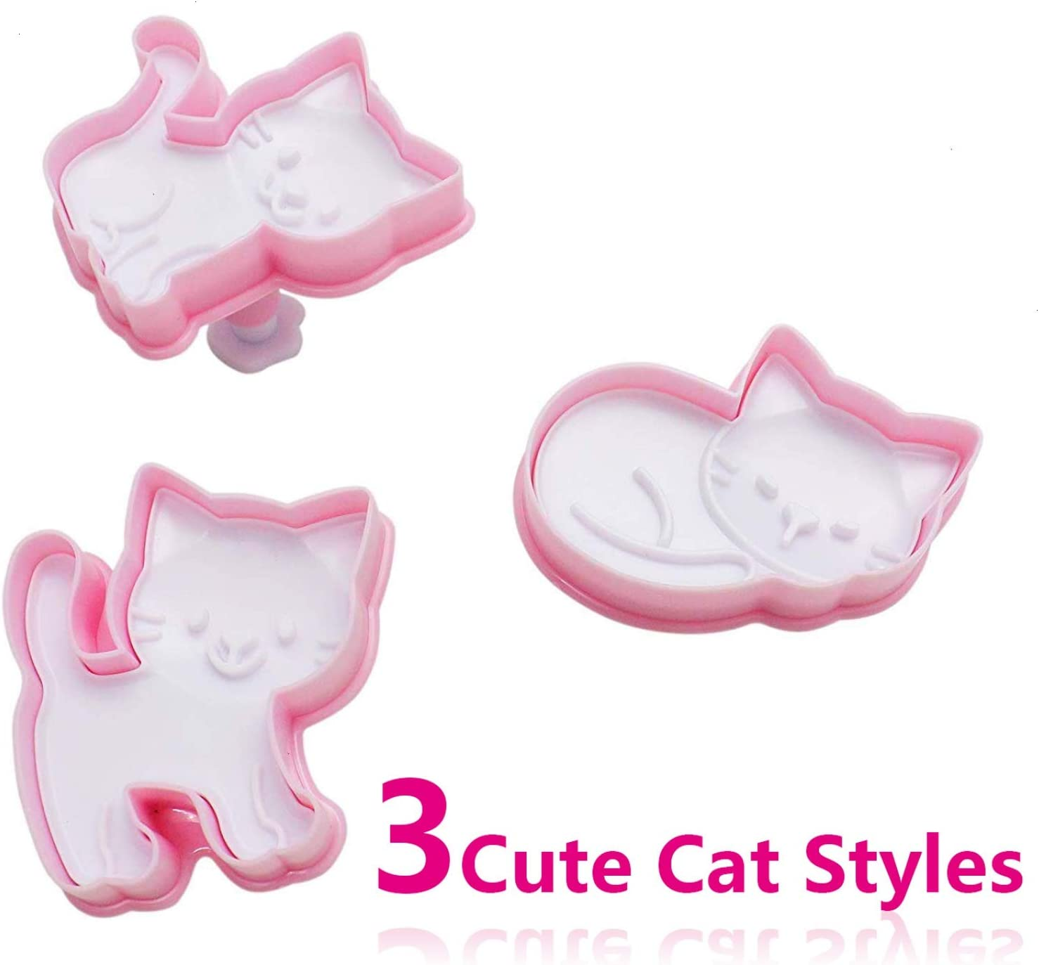 Timoo Cat Shaped Animal Plunger Cookie Cutters set for kids, Food Grade Pocket Sandwich Bread mold, 3pcs